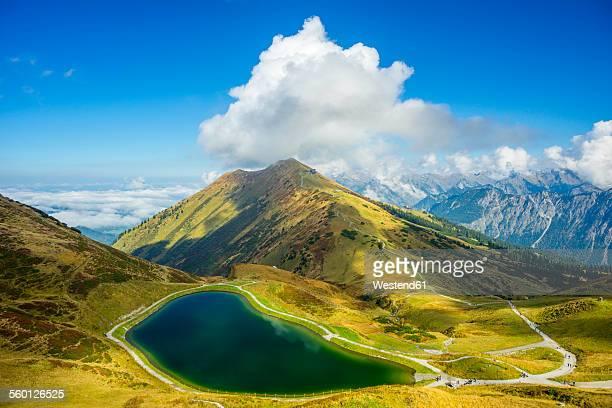 Germany, Bavaria, Allgaeu Alps, artificial lake at Fellhorn