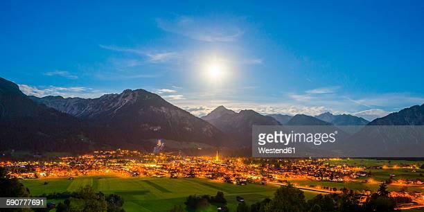 germany, bavaria, allgaeu alps, oberstdorf at night - oberstdorf stock pictures, royalty-free photos & images