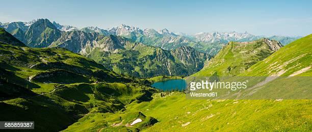 germany, bavaria, allgaeu alps, view from zeigersattel to seealpsee - panoramic stock-fotos und bilder