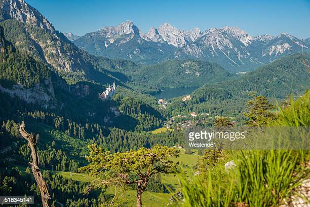 Germany, Bavaria, Allgaeu, Hohenschangau Castle , Neuschwanstein Castle, Lake Alpsee near Fuessen