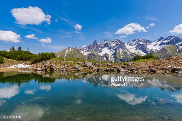 Germany, Bavaria, Allgaeu, View from Gugg lake to Allgaeu Alps, Central main ridge