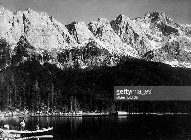Germany Bavaria Alpes the top of the Zugspitze and lake Eibsee date unknown around 1900 photo by Rudolf Rudolphi