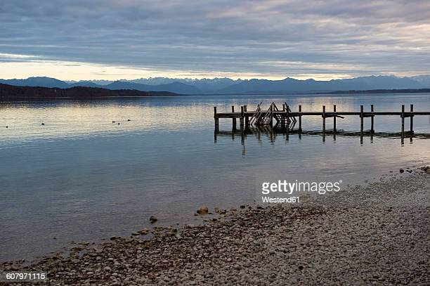 Germany, Bavaria, Alps, Zugspitze, Starnberg lake, boat bridge in the evening, panorama