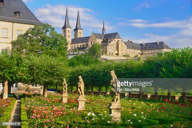 Germany Bavaria Bamberg Neue Residenz the Rose Garden with Michaelsberg Abbey in the background