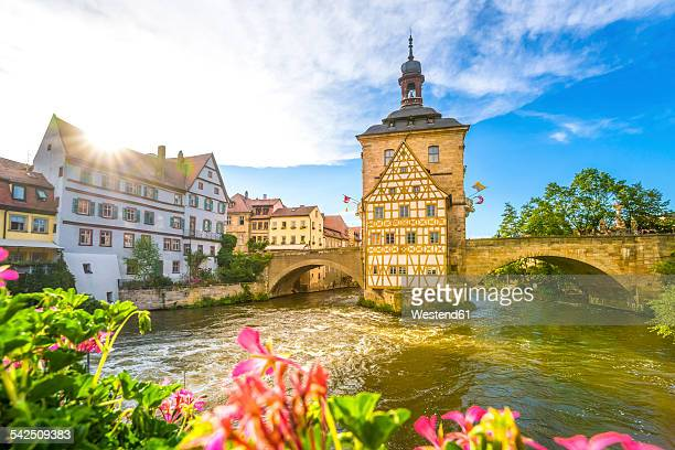 Germany, Bavaria, Bamberg, Regnitz river with old townhall