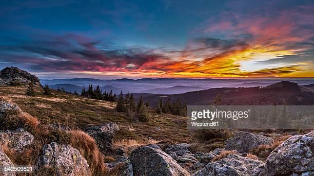 Germany, Bavaria, Bavarian Forest, Great Arber at sunset