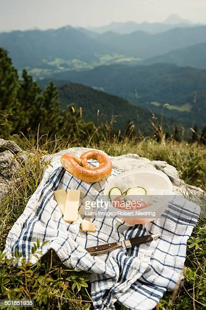 Germany, Bavaria,, Bavarian snack with mountains in background