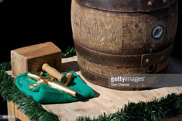 Germany, Bavaria, beer barrel with tap, close-up