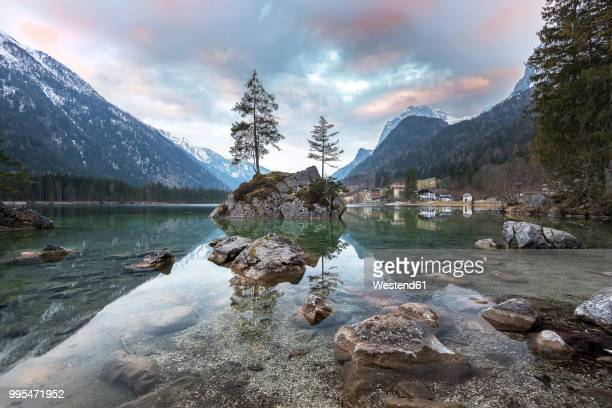 germany, bavaria, berchtesgaden alps, lake hintersee in the morning - berchtesgaden national park stock photos and pictures