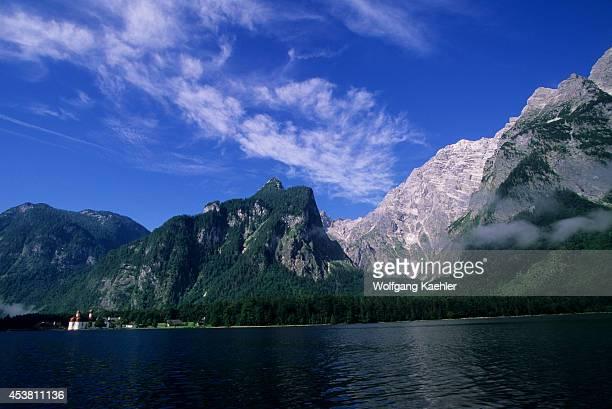 Germany Bavaria Berchtesgaden Konigsee St Bartholoma W/ Watzmann East Face
