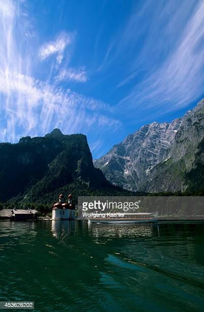 Germany Bavaria Berchtesgaden Konigsee St Bartholoma Watzmann E Face Tour Boat