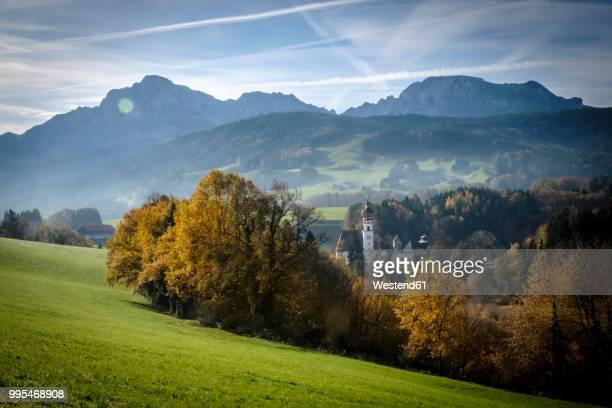 germany, bavaria, berchtesgadener land, view to hoeglwoerth abbey - monastery stock pictures, royalty-free photos & images