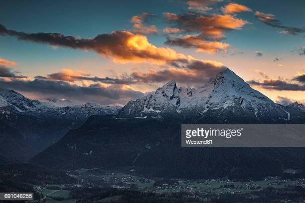 Germany, Bavaria, Berchtesgadener Land, view to Watzmann at sunset