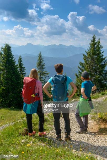 germany, bavaria, brauneck near lenggries, young friends standing in alpine landscape looking at view - lenggries stock pictures, royalty-free photos & images