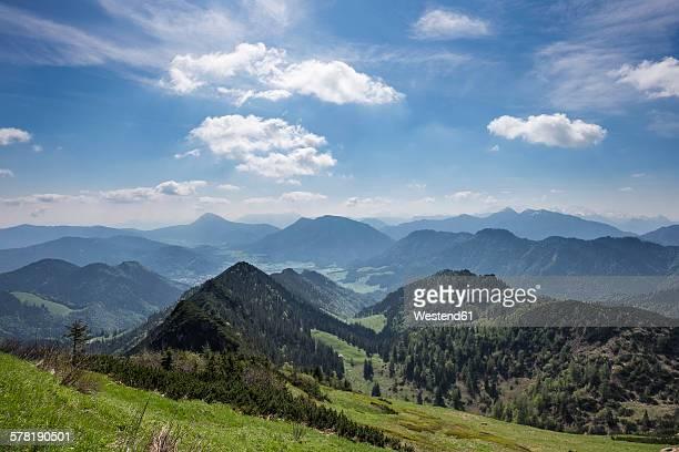 Germany, Bavaria, Chiemgau Alps, view from Hochfelln eastwards