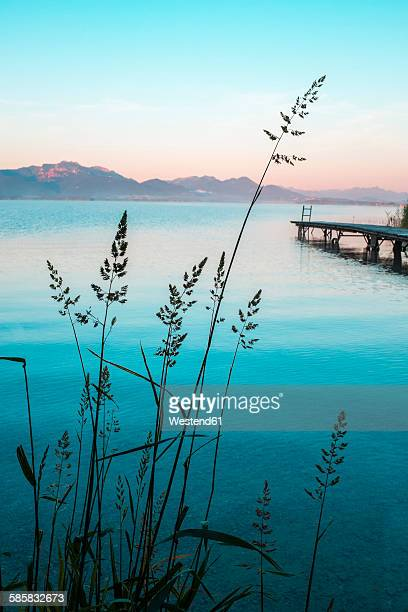Germany, Bavaria, Chiemgau, Lake Chiemsee, wooden jetty in the evening
