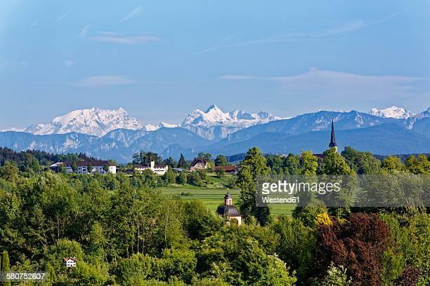 Germany, Bavaria, Chiemgau, Stein an der Traun, View to Sankt Georgen, Berchtesgaden Alps, with Watzmann and Hochkalter