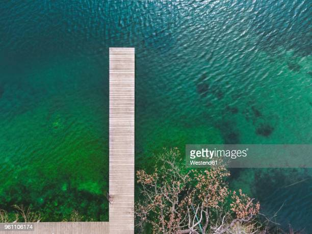 Germany, Bavaria, Chiemsee, aerial view of jetty