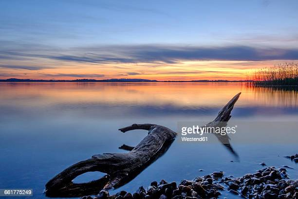 Germany, Bavaria, Chiemsee, Lake Uebersee in the evening