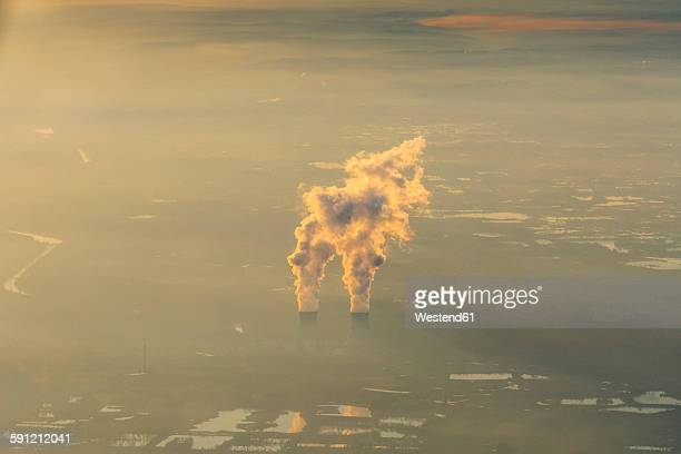 Germany, Bavaria, Cooling towers of nuclear power plant Gundremmingen, aerial view