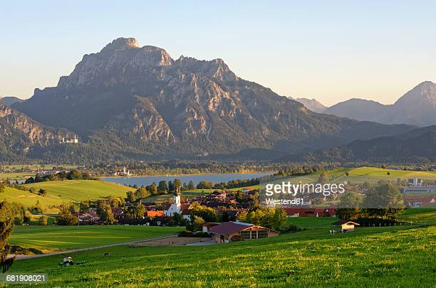 germany, bavaria, east allgaeu, rieden at lake forggensee, neuschwanstein castle, saeuling mountain - neuschwanstein castle stock pictures, royalty-free photos & images