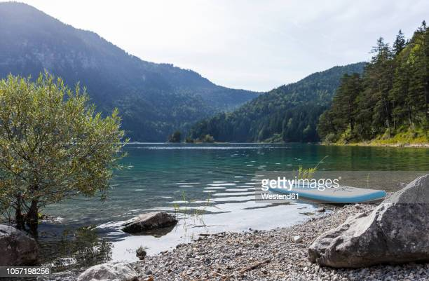 germany, bavaria, eibsee, surfboard at lakeshore - riva del lago foto e immagini stock
