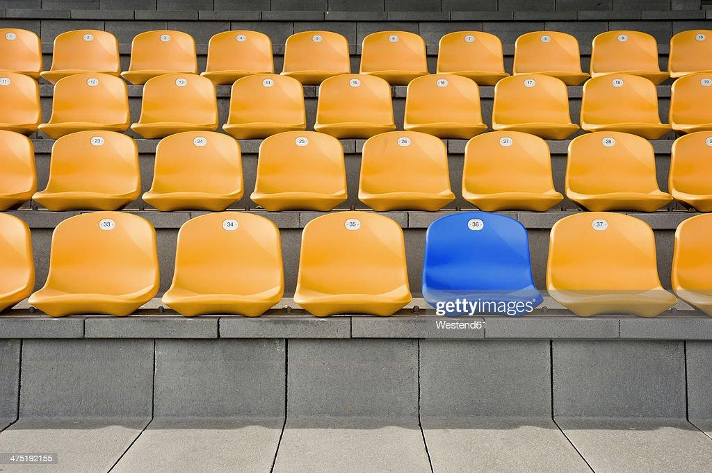 Germany, Bavaria, Empty stadium seats : Stock Photo