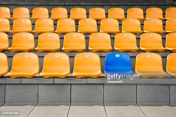 germany, bavaria, empty stadium seats - gegensatz stock-fotos und bilder