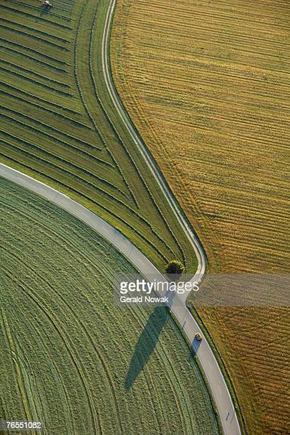 Germany, Bavaria, fields and country roads, aerial view