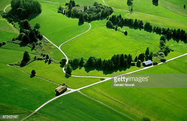 Germany, Bavaria, fields and meadows, aerial view