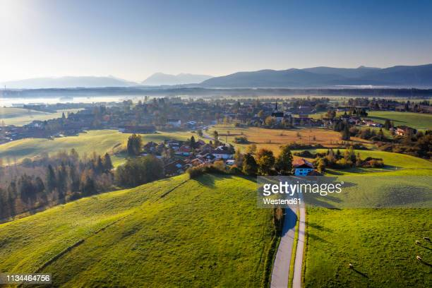 germany, bavaria, foothills of the alps, toelzer land, aerial view of sachsenkam - villaggio foto e immagini stock
