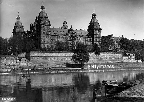 Germany Bavaria Free State Aschaffenburg View at the baroque castle Schloss Johannisburg seen from the left riverside ca 1929 Photographer Philipp...