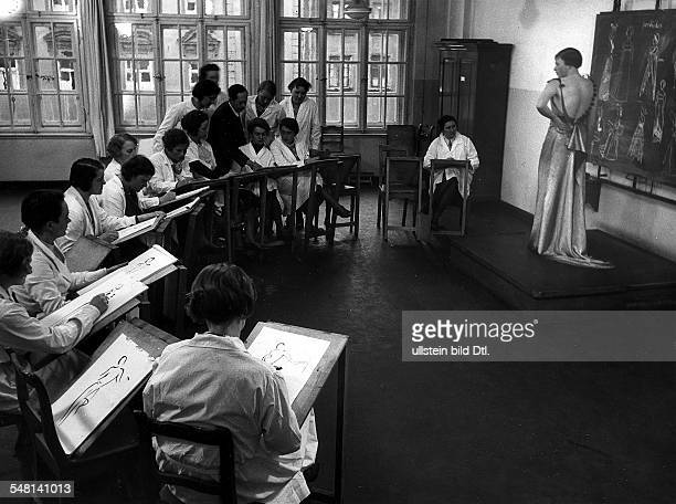 Germany Bavaria Free State Munich Students of a Munich fashion school drawing after a live model 1933 Photographer James E Abbe Published by 'Die...