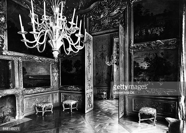Germany Bavaria Free State Munich: View into the splendid Hunting Room of the Amalienburg in the park of Nymphenburg Palace, Munich - 1930ies -...