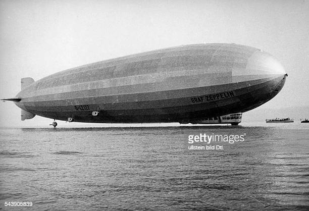 Germany Bavaria Free State The rigid airship Graf Zeppelin after the first splashdown on the Lake Constance undated Photographer Walter Gircke...