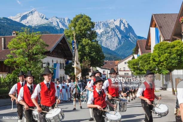 Germany Bavaria GarmischPartenkirchen Bavarian Festival Marching Band in Traditional Costume