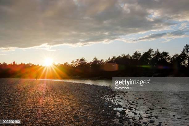 germany, bavaria, geretsried, nature reserve isarauen, isar river at sunset - fiume isar foto e immagini stock
