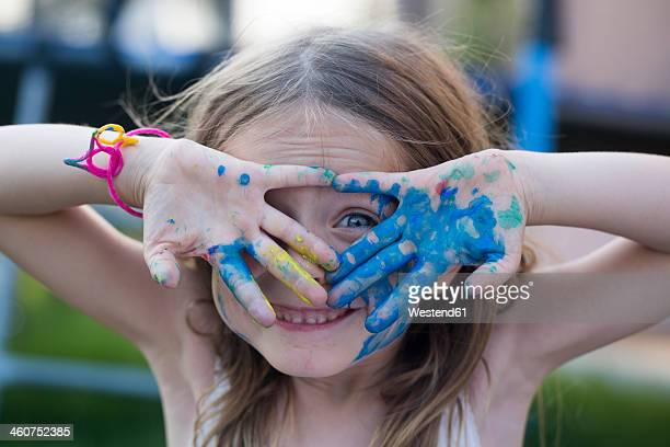 germany, bavaria, girl playing with finger paint, close up - finger painting stock pictures, royalty-free photos & images