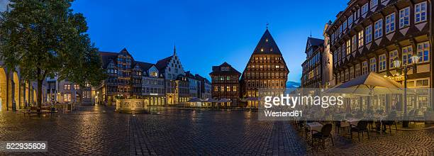 Germany, Bavaria, Hildesheim, Market place in the evening, Panorama