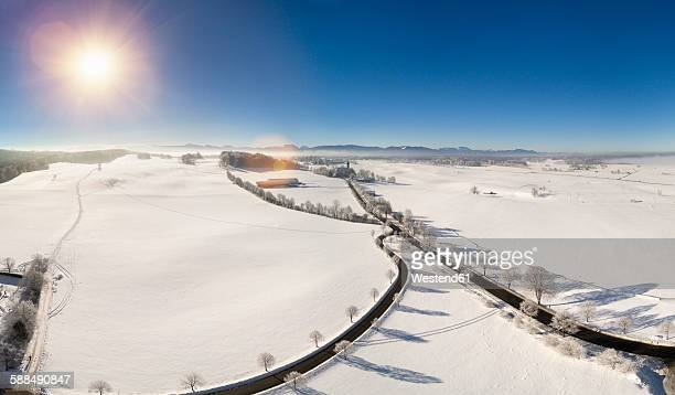 Germany, Bavaria, Holzkirchen, Aerial view of winter landscape