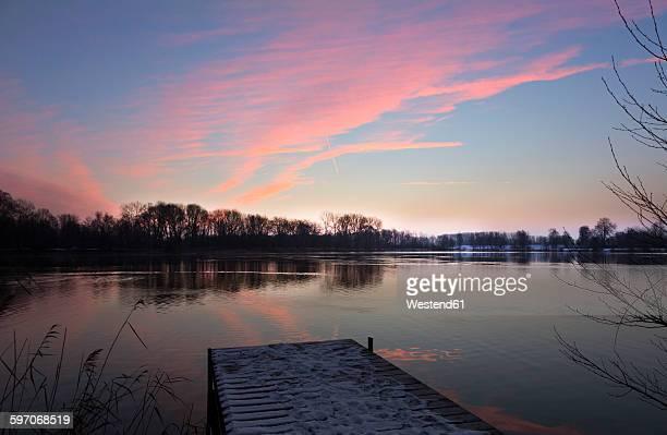 germany, bavaria, ingolstadt, sunrise above quarry pond - インゴルシュタット ストックフォトと画像