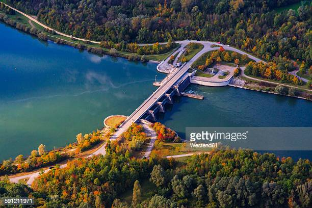 germany, bavaria, isar river, zulling, hydro plant, aerial view - hydroelectric power station stock photos and pictures