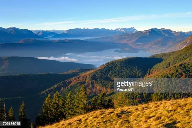 Germany, Bavaria, Jachenau, view from Hirschhoernlkopf towards Walchensee and Wetterstein mountains