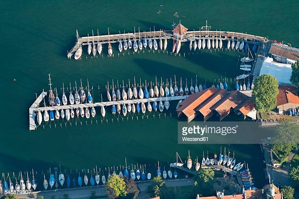 Germany, Bavaria, Lake Constance, Lindau, aerial view of marina