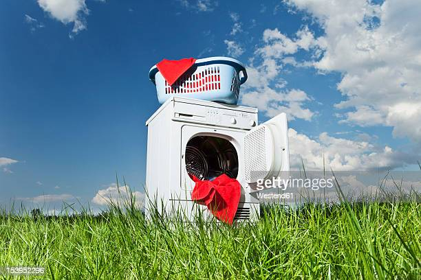 Germany, Bavaria, laundry dryer in grass