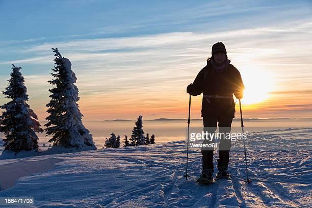 Germany, Bavaria, Mature woman hiking on Grosser Arber