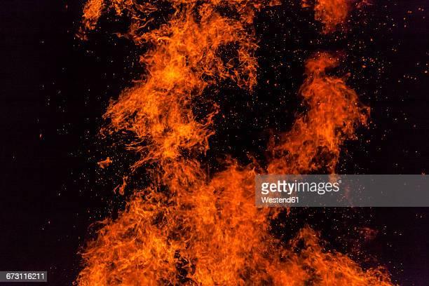 Germany, Bavaria, Midsummer bonfire at night