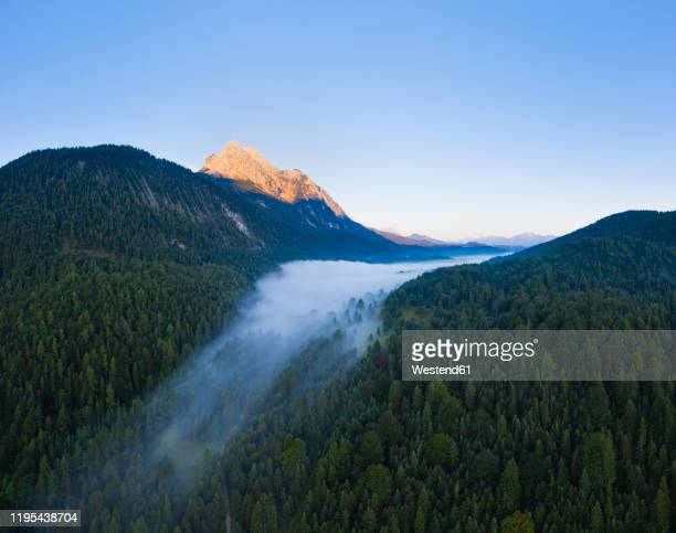 germany, bavaria, mittenwald, aerial view of ferchensee lake shrouded in morning fog - mittenwald fotografías e imágenes de stock