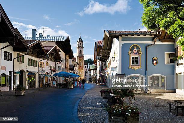 germany, bavaria, mittenwald, pedestrian area - mittenwald stock pictures, royalty-free photos & images