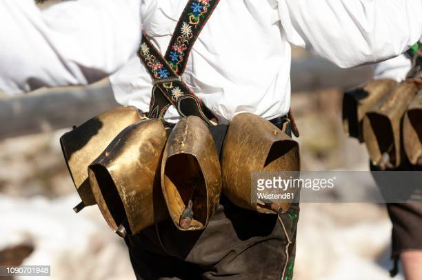 germany, bavaria, mittenwald, traditional carnival procession, bell stirrer, bells - upper bavaria stock photos and pictures